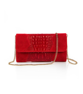 Червена кожена чанта тип клъч